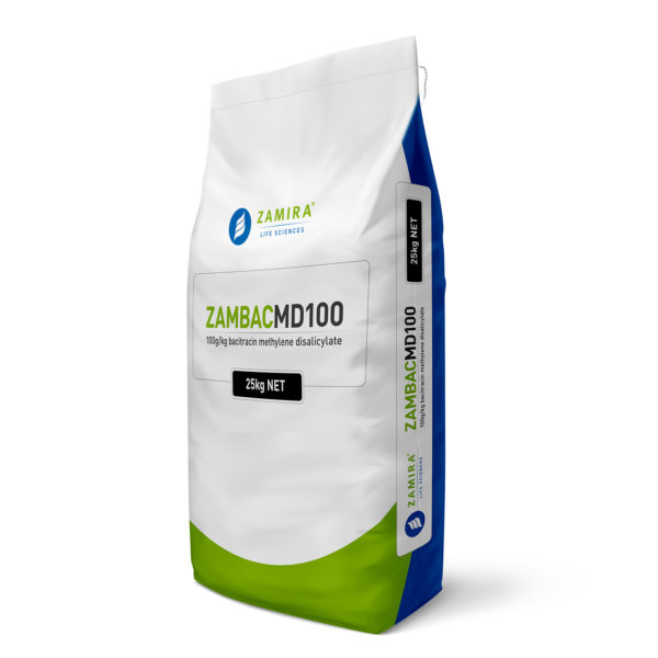 ZAMBAC MD100 (Bacitracin Methylene Disalicylate) is a highly effective feed additive for maintenance of a healthy gastrointestinal tract, beneficial used with an anticoccidial program | Zamira Australia