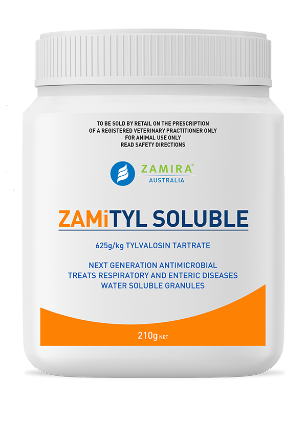 ZAMiTYL SOLUBLE is a highly effective, water soluble form of tylvalosin, an antimicrobial for use in poultry to control respiratory and enteric diseases   Zamira Australia